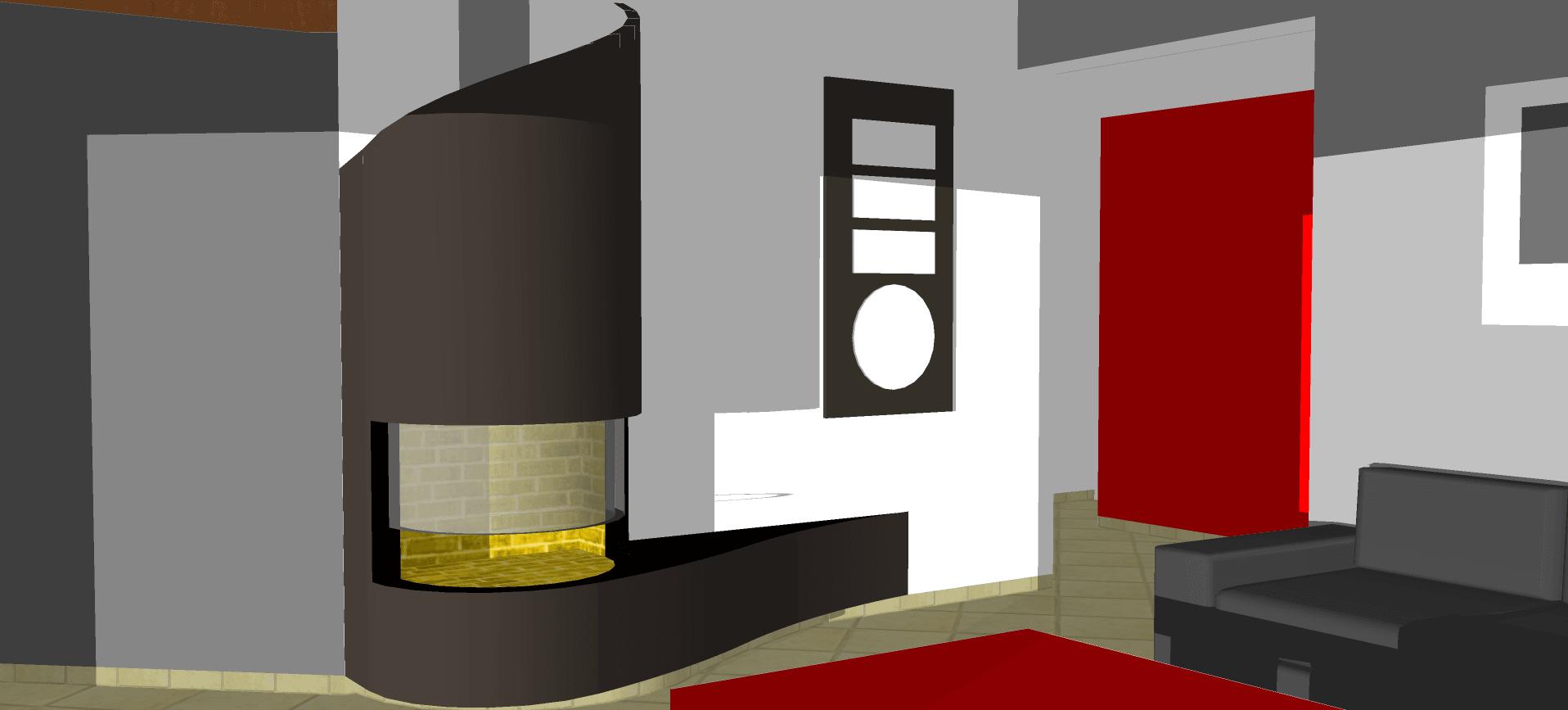 Services Cheminées à Toulouse - Image 3D d'une cheminée. Plan et réalisation.